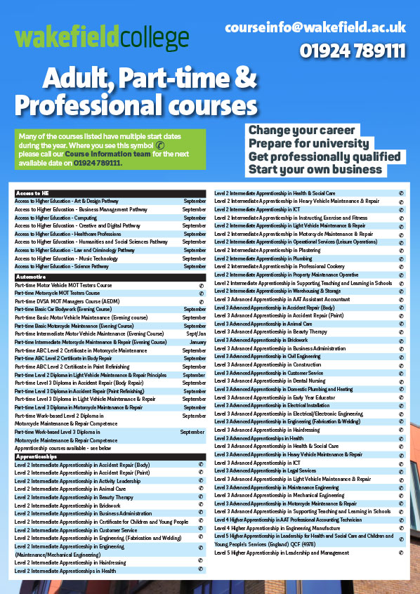 Wakefield College - Adult Learners