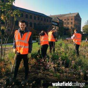 Horticulture students plant new bulbs at The Hepworth